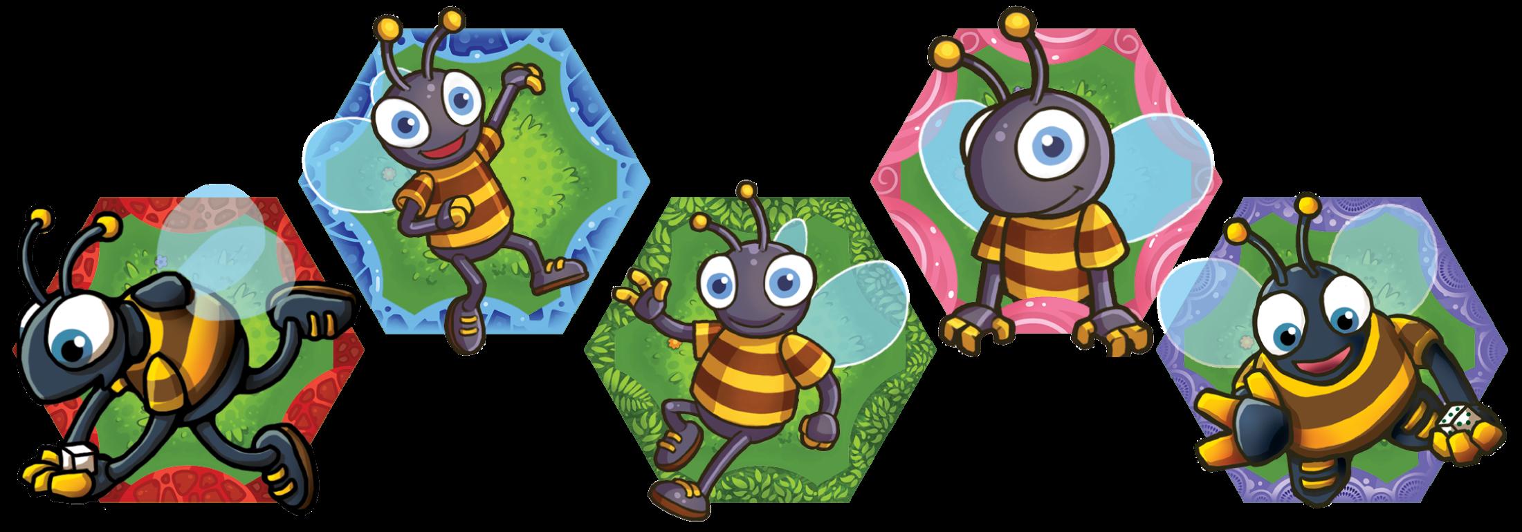 Five BEEEEES! tiles
