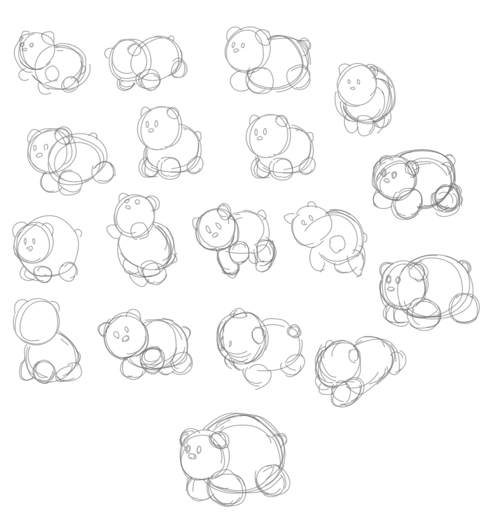 Several sketches of the water bear in different poses
