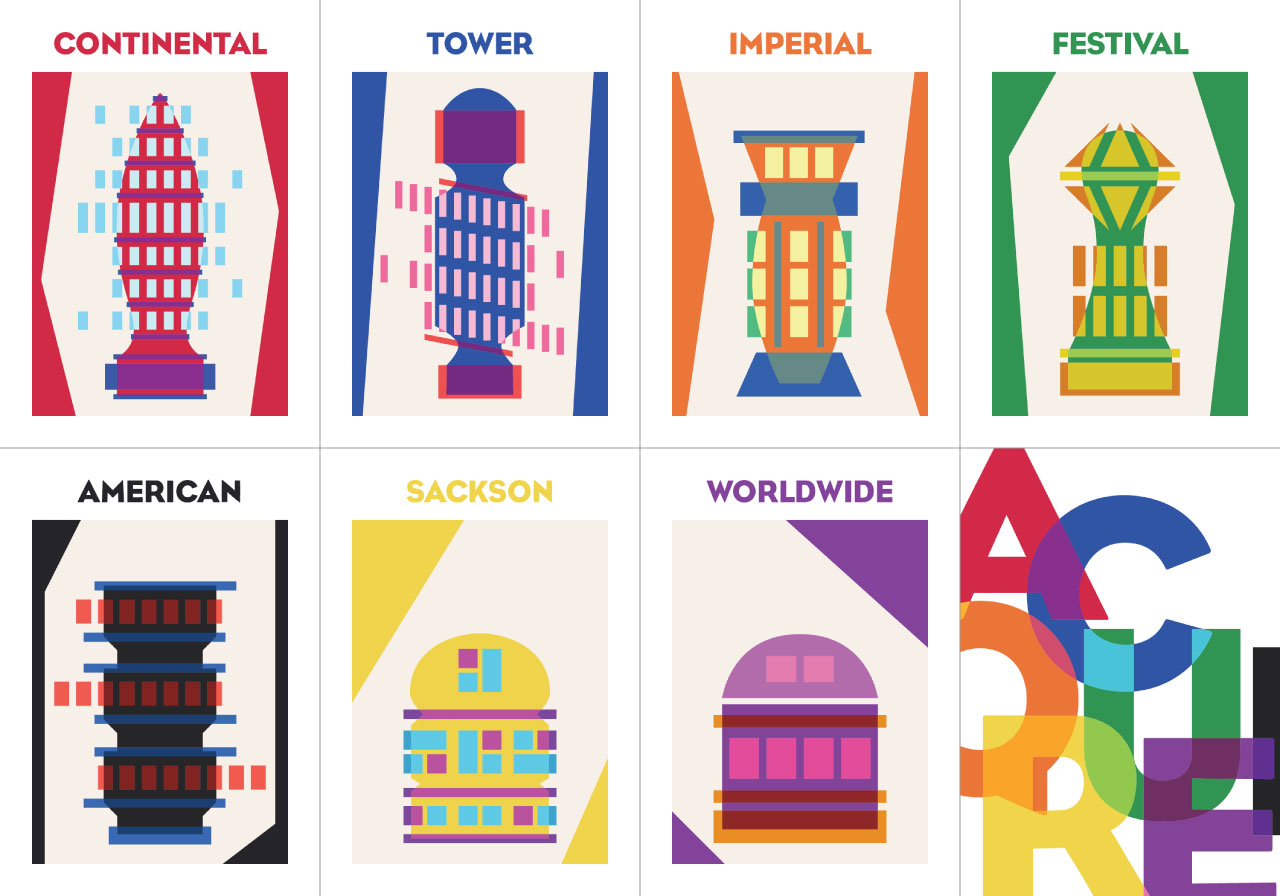 Artwork of Acquire buildings: Continental, Tower, Imperial, Festival, American, Sackson, Worldwide, and the back design